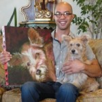 Portrait of Christopher Tracy of Christopher Interiors with his doggie Peanut.